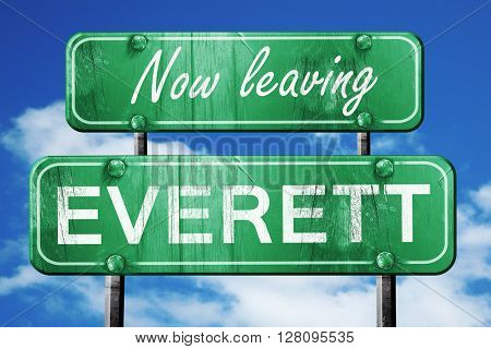 Leaving everett, green vintage road sign with rough lettering