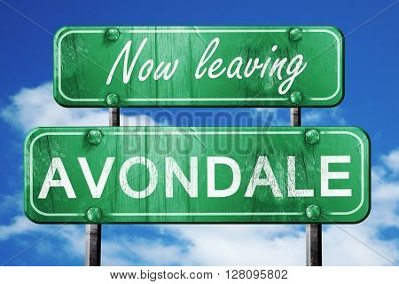 Leaving avondale, green vintage road sign with rough lettering