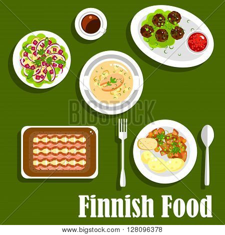 Traditional finnish fish rye pie kalakukko icon, served with salmon cream soup, boiled young potatoes with reindeer stew, meatballs, lingonberry jam, apple salad with beet and onion, cup of coffee. Flat style