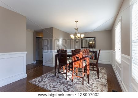 Beautiful staged dining room in a modern house.