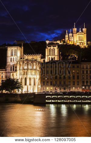 St. John's Cathedral and Basilica of Notre-Dame in Lyon. Lyon Rhone-Alpes France.