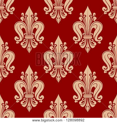 Seamless french heraldic background with red and pink pattern of decorative fleur-de-lis ornament. Heraldry concept or vintage interior design usage