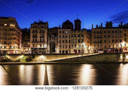Architecture of Lyon along Saone River. Lyon Rhone-Alpes France.