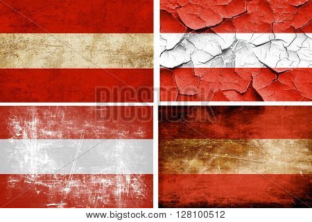 Austrian flag collection. 4 different flags on white background