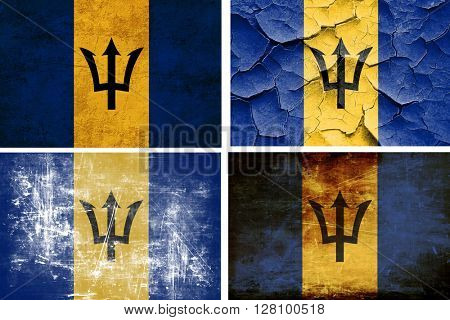 Barbados flag collection. 4 different flags on white background