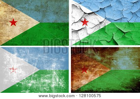 Djibouti flag collection. 4 different flags on white background