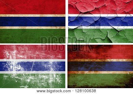 Gambia flag collection. 4 different flags on white background