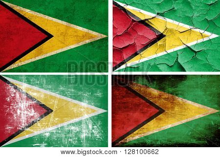 Guyana flag collection. 4 different flags on white background