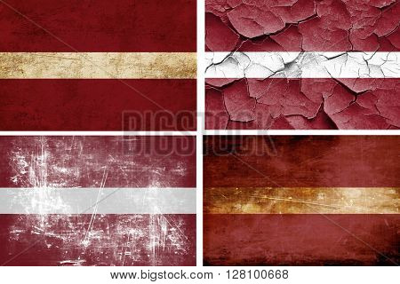 Latvia flag collection. 4 different flags on white background
