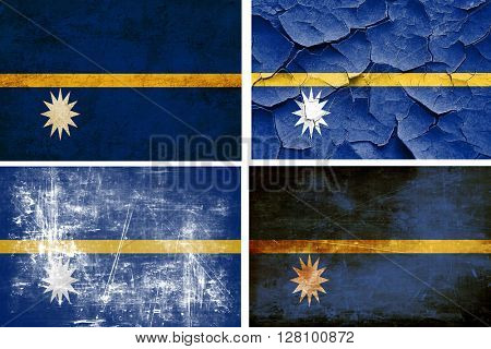 Nauru flag collection. 4 different flags on white background