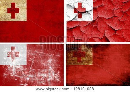 Tonga flag collection. 4 different flags on white background