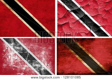 Trinidad and tobago flag collection. 4 different flags on white