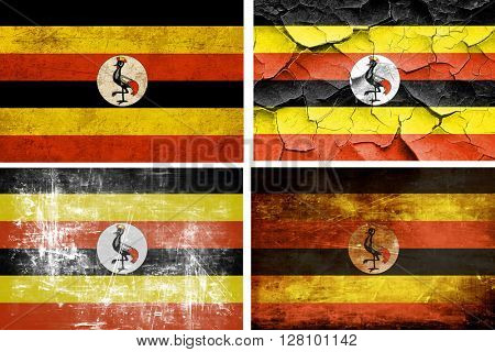 Uganda flag collection. 4 different flags on white background