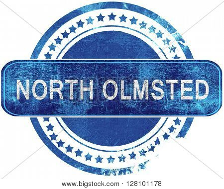 north olmsted grunge blue stamp. Isolated on white.