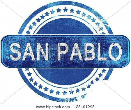 san pablo grunge blue stamp. Isolated on white.
