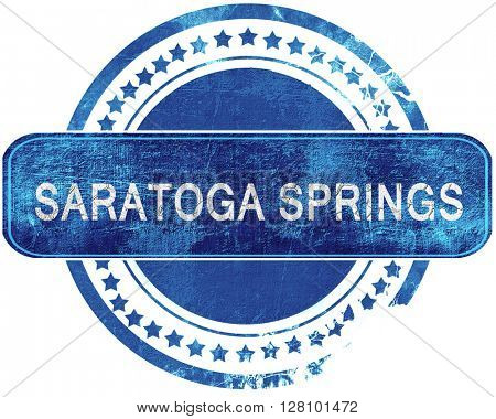 saratoga springs grunge blue stamp. Isolated on white.