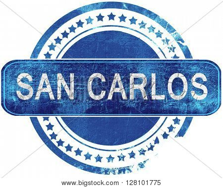 san carlos grunge blue stamp. Isolated on white.