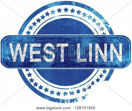 west linn grunge blue stamp. Isolated on white.
