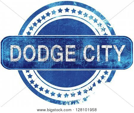 dodge city grunge blue stamp. Isolated on white.