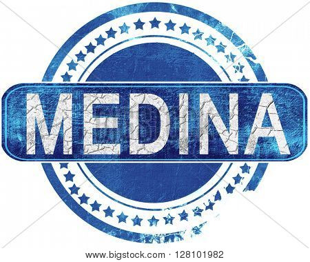 medina grunge blue stamp. Isolated on white.