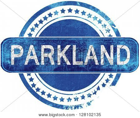 parkland grunge blue stamp. Isolated on white.