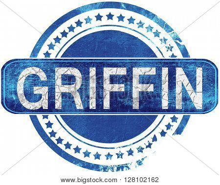griffin grunge blue stamp. Isolated on white.