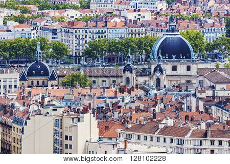 Roofs of Lyon during afternoon. Lyon Rhone-Alpes France.