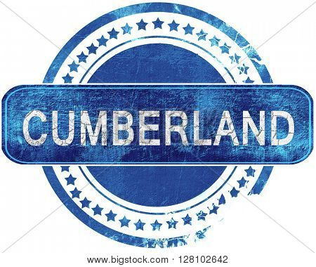cumberland grunge blue stamp. Isolated on white.