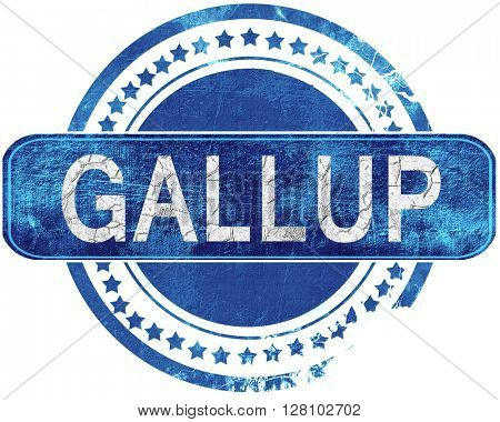 gallup grunge blue stamp. Isolated on white.