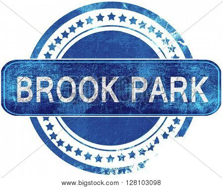 brook park grunge blue stamp. Isolated on white.