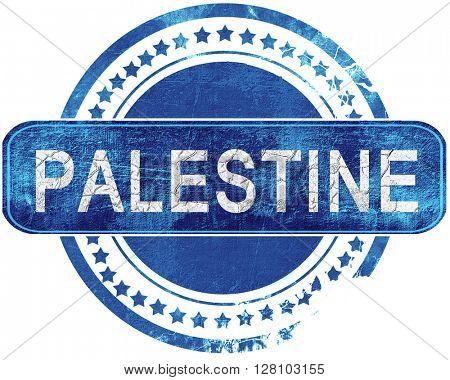 palestine grunge blue stamp. Isolated on white.