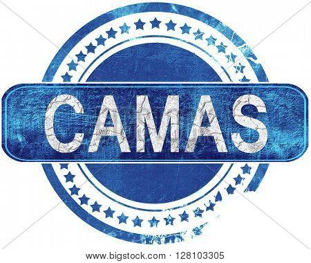 camas grunge blue stamp. Isolated on white.