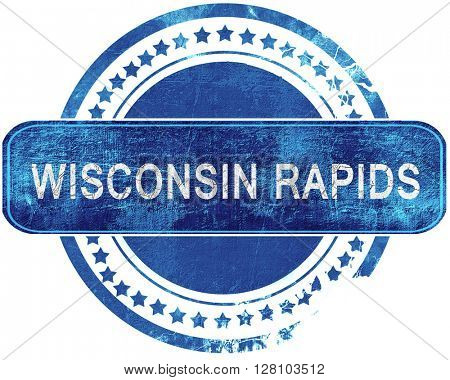 wisconsin rapids grunge blue stamp. Isolated on white.