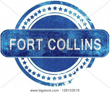 fort collins grunge blue stamp. Isolated on white.