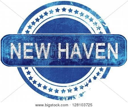 new haven grunge blue stamp. Isolated on white.