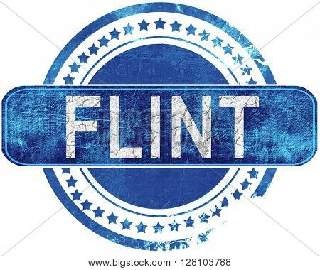 flint grunge blue stamp. Isolated on white.