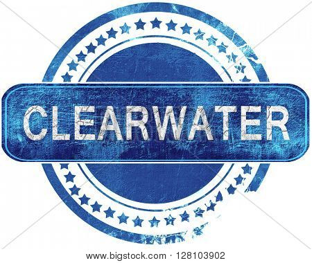 clearwater grunge blue stamp. Isolated on white.