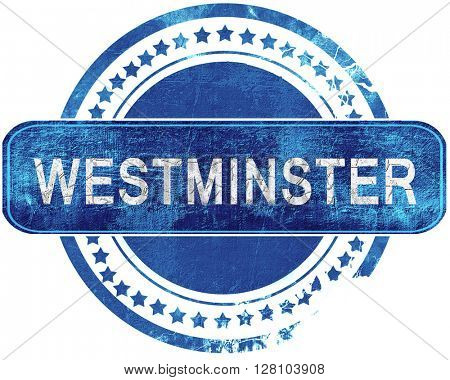 westminster grunge blue stamp. Isolated on white.