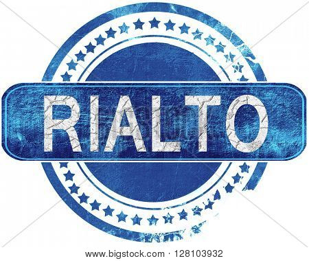 rialto grunge blue stamp. Isolated on white.