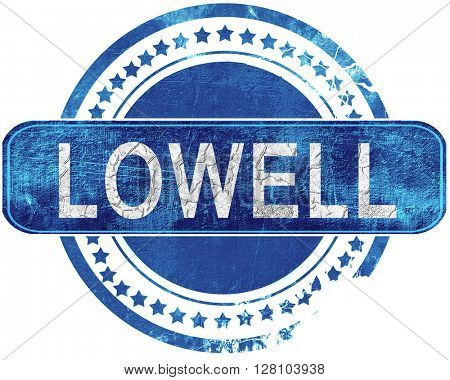 lowell grunge blue stamp. Isolated on white.