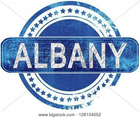 albany grunge blue stamp. Isolated on white.