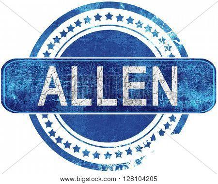 allen grunge blue stamp. Isolated on white.