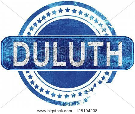 duluth grunge blue stamp. Isolated on white.