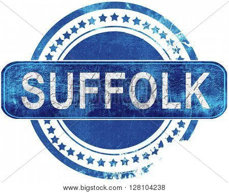 suffolk grunge blue stamp. Isolated on white.