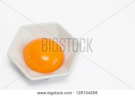 Cassava bread preparation : Egg yolk in white background