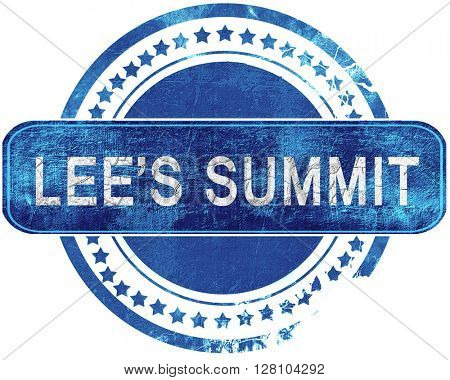 lee's summit grunge blue stamp. Isolated on white.