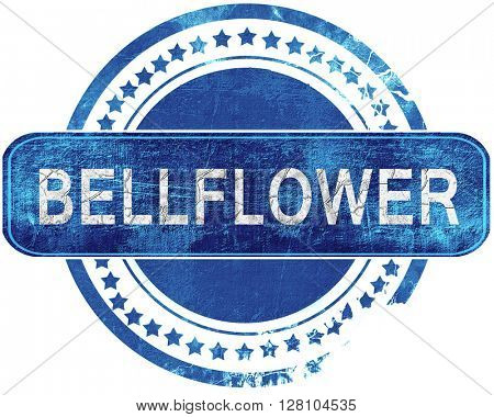 bellflower grunge blue stamp. Isolated on white.