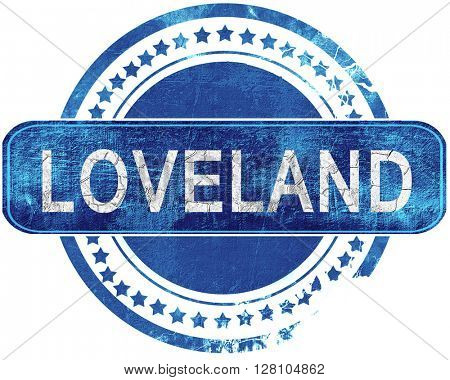 loveland grunge blue stamp. Isolated on white.