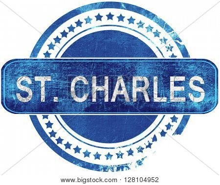 st. charles grunge blue stamp. Isolated on white.