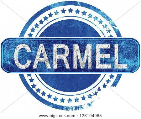carmel grunge blue stamp. Isolated on white.